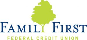 Family First Federal Credit Union Logo with Blue Text and a Green silhouette of a tree as the letter Y in Family