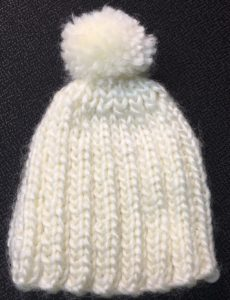Handmade baby hat donated by GRAR's FLX Gateway Chapter member, Debora Clark, and her friends