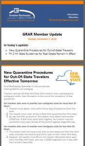 Screenshot of November 3 2020 Member Update Newsletter
